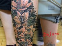 Lillies leg tattoo coverup