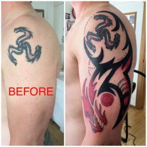 dragon shoulder tattoo addition