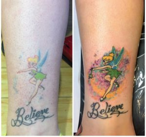 fairy leg tattoo rework