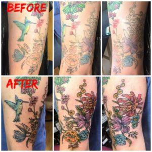 floral arm tattoo rework