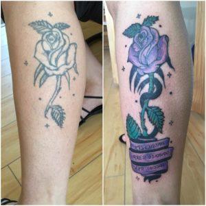 rose leg tattoo rework