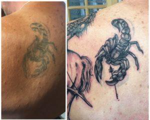 scorpion shoulder tattoo rework