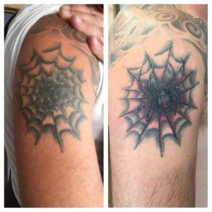 spider shoulder tattoo rework