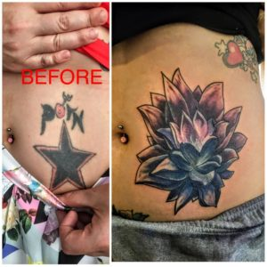 star abdominal tattoo coverup